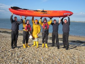 RNLI and Fire Service raise the kayak!