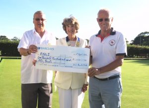 Presenting the cheque for £1250